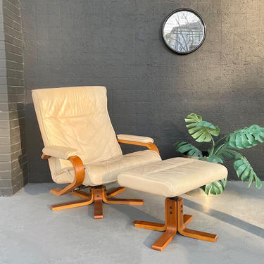 Cream Leather & Wood Base Recliner with Ottoman