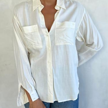 90s Vintage Minimalist White Button Down Long Sleeve Shirt - Cream Off White Blouse by LittleSparkVintage