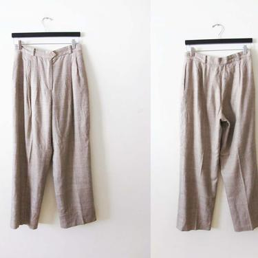 Vintage 70s Pleated Silk Trousers 29 - High Waist Wide Leg Trousers - Womens Textured Beige Trousers Pants - 70s Clothing by MILKTEETHS