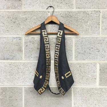 Vintage Leather Halter Vest Retro 1990s Black + Biker + Gold Metal Lions + Adjustable Strap + Versace Style + Women's Apparel by RetrospectVintage215