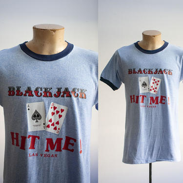 Vintage 1970s Ringer Tshirt / Blue Ringer Tee / Vintage Las Vegas Gambling Tshirt / Vintage Black Jack Tee / Aces Tshirt Large / Retro Tee by milkandice