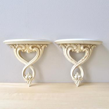 vintage ivory white washed wall sconces - pair ornate wall hangings with plate rack by ionesAttic