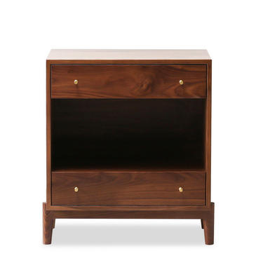 Atwater Nightstand - Solid Walnut Bedside Table - Brass Pulls - Two Drawers by HedgeHouse