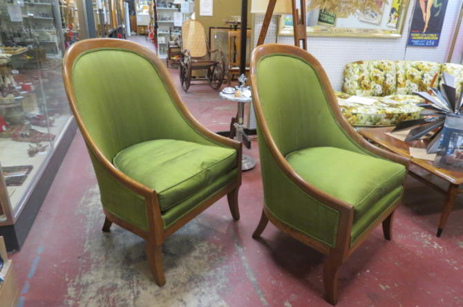 Vintage MCM pair of Michael Taylor slipper chairs