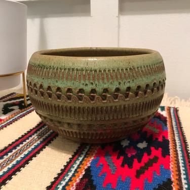 Vintage Indoor Ceramic Planter 1960's Mid Century Green planter pot Bitossi Italy style by VintageCoreReStore