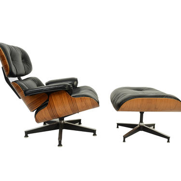 Herman Miller Eames Black Leather Lounge Chair & Ottoman in Rosewood Mid Century Modern by HearthsideHome