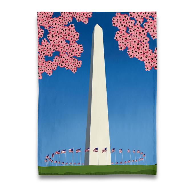 Washington Monument Cherry Blossom Tea Towel