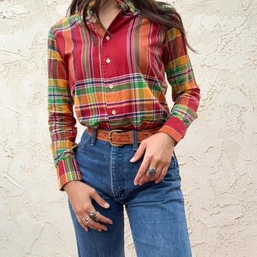 Vintage 70's JG Hook Plaid Light Weight Button Up Blouse by CottontailTrdPost