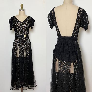 Vintage 1940s Dress 40s Lace Dress Glamour Bombshell by littlestarsvintage