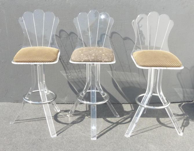 Set of Three Vintage Mid Century Solid Lucite Swivel BARSTOOLS Bar Stool by VintageLAfurniture