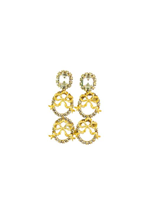 The Pink Reef double crystal bow earrings