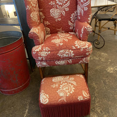 Vintage Wing Chair and Foot Rest by coloniaantiques