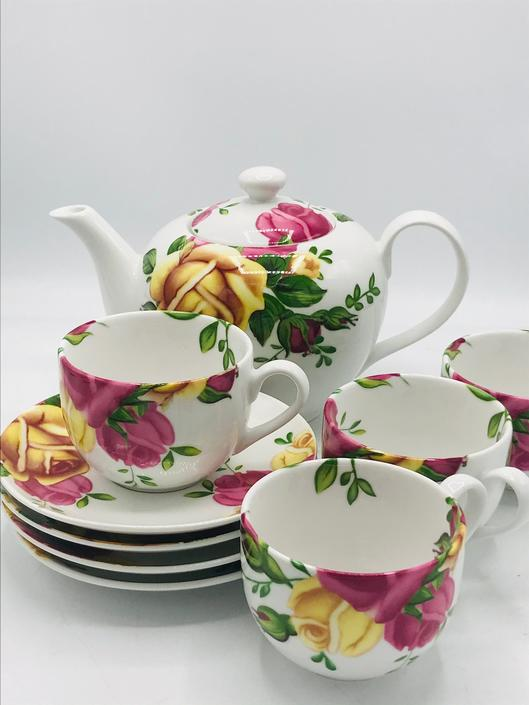 Royal Albert Country Rose 9 Piece Tea Set Teapot 4 Cups & 4 Saucers by JoAnntiques