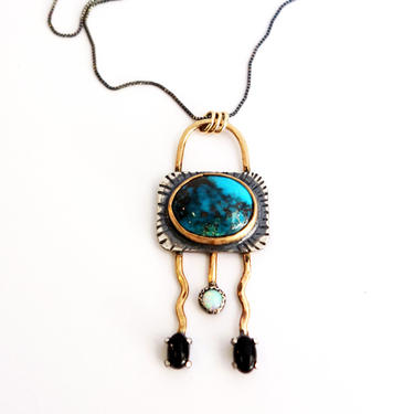 Bisbee Turquoise Alien Squid Pendant -One of a kind Sculpture Necklace Handmade Art Jewelry with Opal and Black Onyx by RachelPfefferDesigns