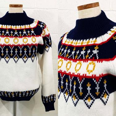Vintage Sweater JCPenny Pullover Navy Blue White Red Yellow 80s 1980s 70s Long Sleeve Knit Twin Peaks  Fair Isle Unisex Medium Large Hygge by CheckEngineVintage