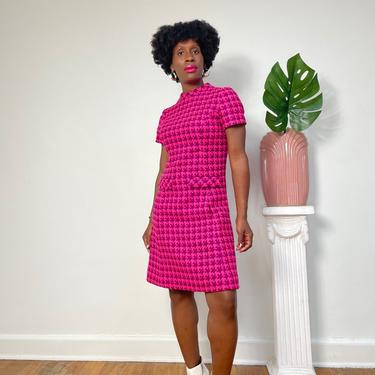 Vintage Pink Print Mini Dress from the 1960s - 1970s 60s Chanel Style 100% Virgin Wool Dress Front Pocket Detail Small with Zip Back Closure by KeepersVintage