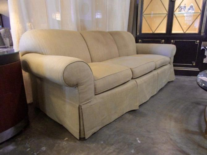 ROLLED ARM SOFA IN SAND LINEN UPHOLSTERY