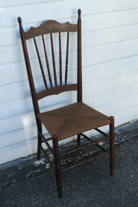 Late 1880s Carved Solid Wood Rush Seat Side Chair 1438