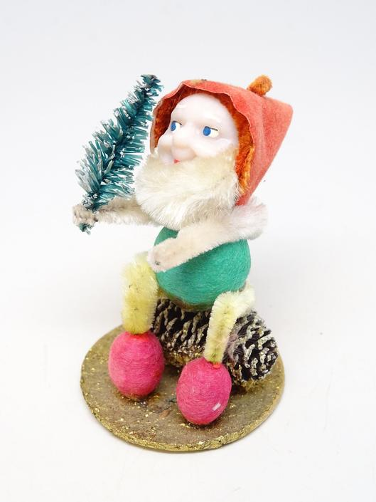 Vintage 1950's Santa on Pine Cone Christmas Ornament, Retro Tree Decoration, Mushroom, Faux Feather Tree by exploremag
