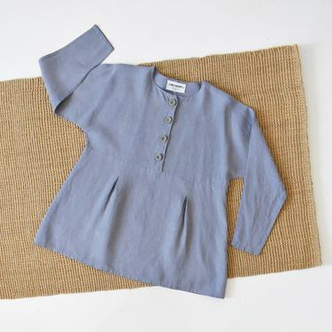vintage linen long sleeve popover shirt, size M / L by ImprovGoods