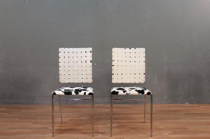 Mod Cow & Vinyl Straps Side Chair