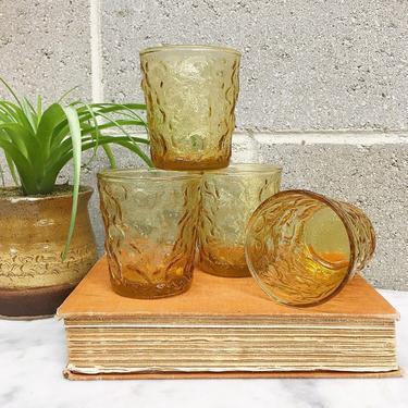Vintage Drinking Glasses Retro 1960s Anchor Hocking + Lido Milano + Honey Gold Amber + Set of 4 + Crinkle + Juice Glass + Kitchen Decor by RetrospectVintage215