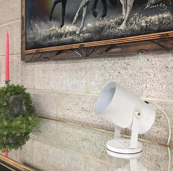 Vintage Spotlight Retro 1970s Underwriters Laboratories White Metal Table Lamp + Spotlight + Lighting + Small + Ambient + Home Light Decor by RetrospectVintage215