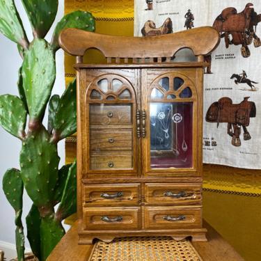 Vintage 1970s/80s Large Wood Jewelry Box by DesertCactusVintage