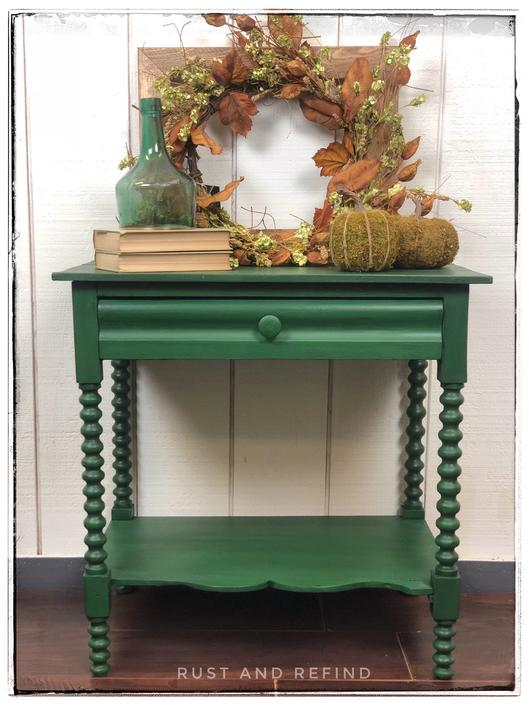 Antique side table with spool-turned legs, one drawer (lined), painted Opulence (Green), Free Aldie VA Pickup, Shipping/Delivery extra by RustandRefind
