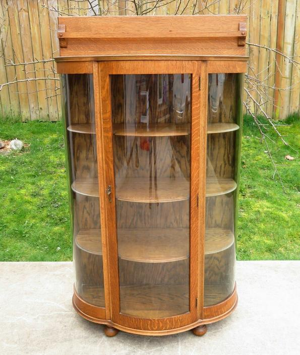 Antique OAK CURVED GLASS CHINA CABINET Display Case VICTORIAN CURIO Bookshelf