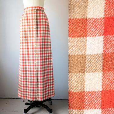 1970s Maxi Skirt Pendleton Plaid Wool XS by dejavintageboutique