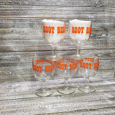 Vintage Root Beer Goblets, 1970's Coin Dot Glasses, Retro Soda Pop Thumbprint Drinking Glasses, Root Beer Sundae Floats, Vintage Kitchen by AGoGoVintage