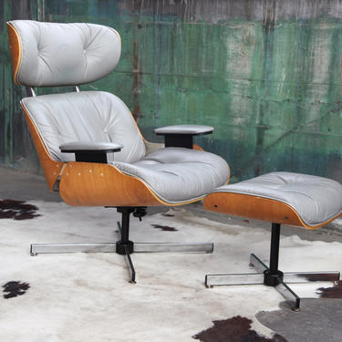 SOLD**BEAUTIFUL Grey Eames Herman Miller Style lounge chair and ottoman Vintage Mid Century 1970s Plycraft  Selig Gray McM CLASSIC Icon! by CatchMyDriftVintage