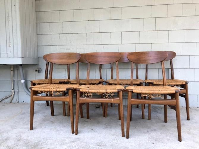 Set of (7) Hans Wegner Style Rope Chairs: As Is
