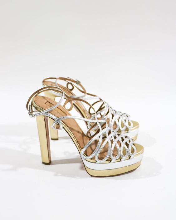 Aquazzura Metallic Caged Sandals, Size 40