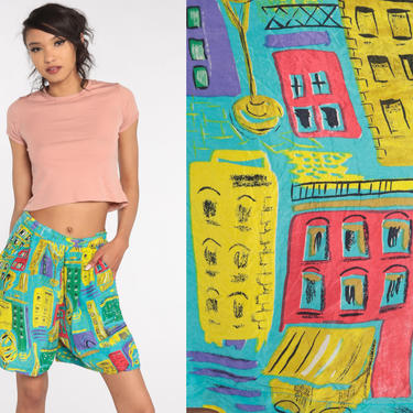 90s Cityscape Shorts Bright Tropical Silk Shorts Wide Leg Shorts Baggy Vintage High Waist Bermuda Shorts 1990s Small by ShopExile
