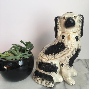 Antique Staffordshire Dog Statue King Charles Spaniel Figurine Chinoiserie Decor by PursuingVintage1