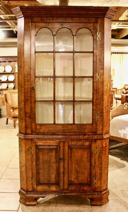 Exquisite Tiger Maple Corner Cupboard - Not Antique
