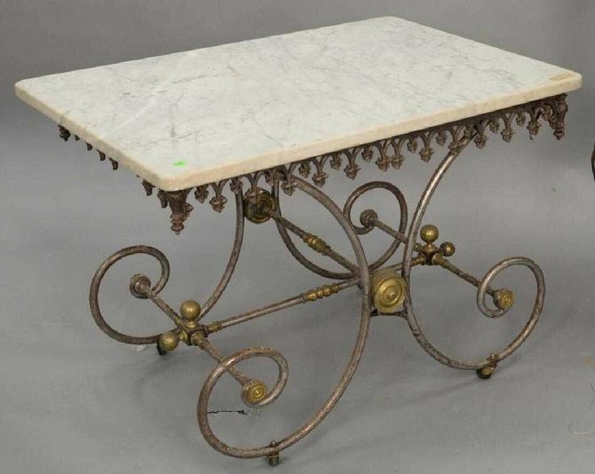 Marble Topped Butcher's Wrought Iron Baker's Table