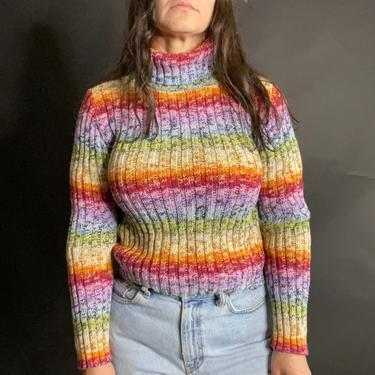 Vintage 90's Rainbow Spacedye Turtleneck Ribbed Knit Sweater, Size Medium by Northforkvintageshop