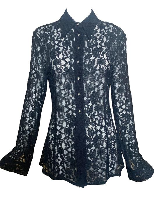Dolce and Gabbana Black lace Button Down Blouse