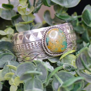 Vintage Navajo Sterling Silver Turquoise Cuff, Engraved Silver Cuff With Green Turquoise, Sterling A.J Platero Navajo, Old Pawn Jewelry by shopGoodsVintage