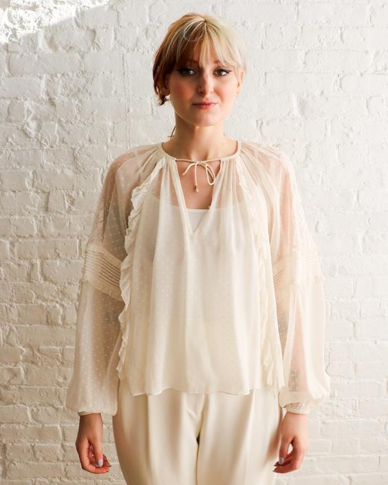 Ulla Johnson Sheer Silk Blouse, Size 0