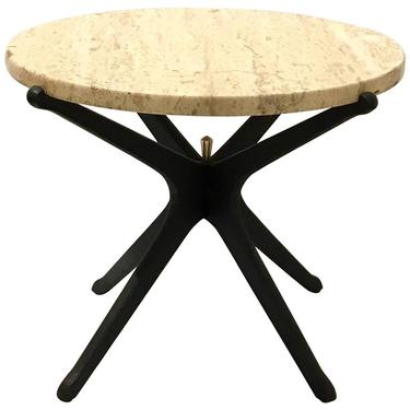 Italian Mid-Century Modern Star Base Small Cocktail Table Marble and Wood