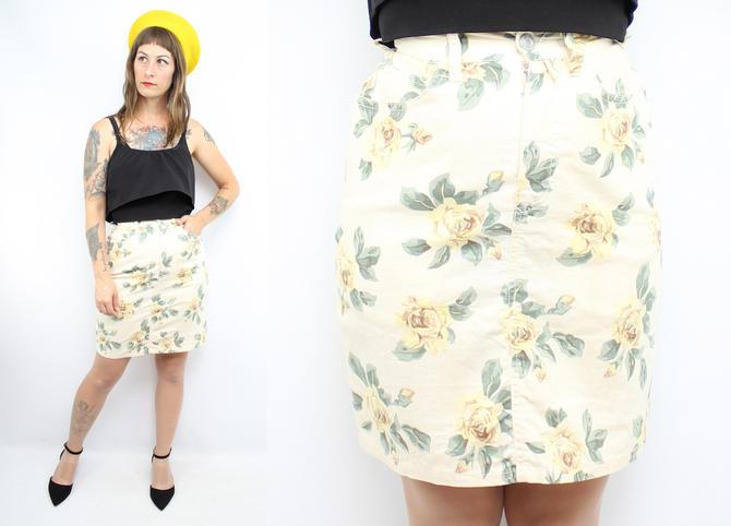 "Vintage 90's Yellow Rose Linen Cotton Denim Skirt / 1990's ESPRIT Spring High Waisted Skirt / Women's Size XS / Small  / 25"" Waist by RubyThreadsVintage"