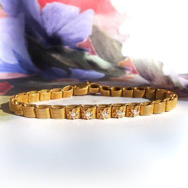 "Antique Diamond Star Bracelet Victorian 1880's .20ct t.w. Old European Cut Tennis Charm Link Bracelet 14k Yellow Gold 7"" Inch Wrist by YourJewelryFinder"