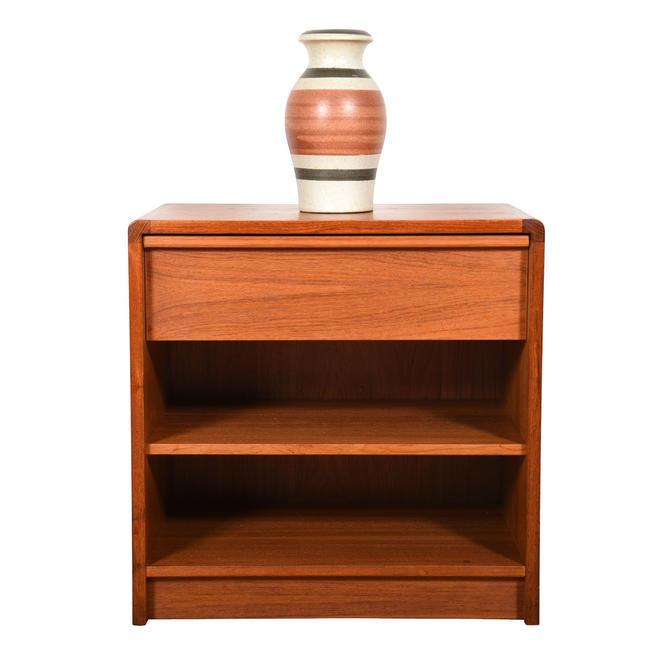 Danish Teak Nightstand with Drawer + 2 Shelves