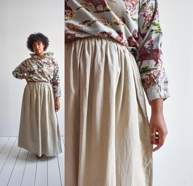 Tan Linen Prairie Skirt by milkandice