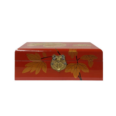 Chinese Oriental Red Lacquer Gold Flower Mirror Jewelry Chest Box ws1200E by GoldenLotusAntiques
