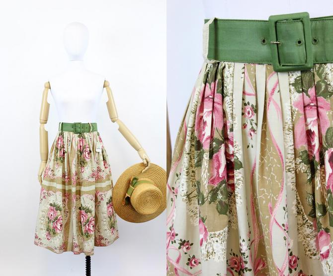 1950s deadstock rose print skirt   vintage novelty ribbon print skirt   xs by CrushVintage